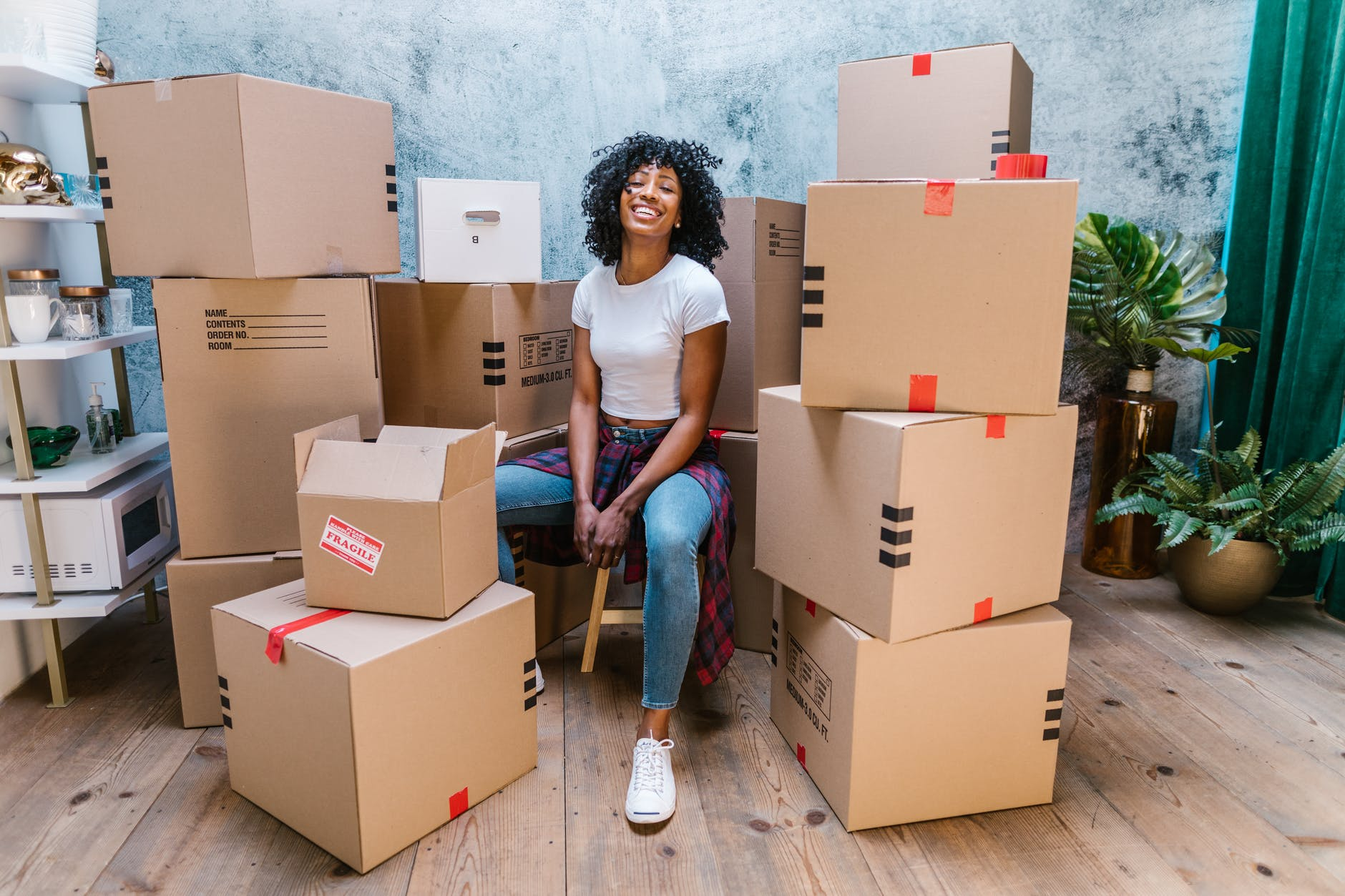 A woman getting ready to ship her products