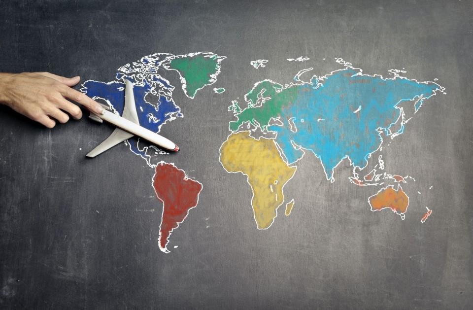 model plane on world map demonstrating international shipping